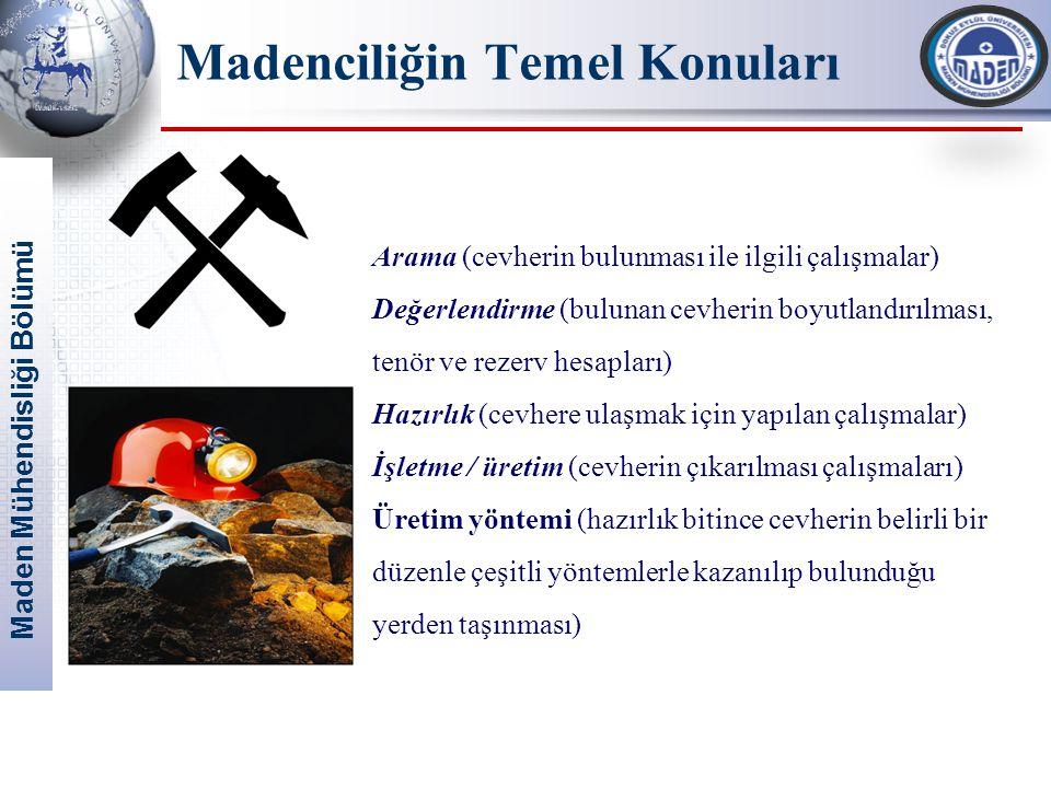 Maden Mühendisliği Bölümü Madenciliğin Temel Konuları Arama (cevherin bulunması ile ilgili çalışmalar) Değerlendirme (bulunan cevherin boyutlandırılma