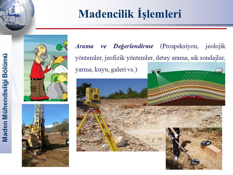 Maden Mühendisliği Bölümü Madencilik İşlemleri Arama ve Değerlendirme (Prospeksiyon, jeolojik yöntemler, jeofizik yöntemler, detay arama, sık sondajla
