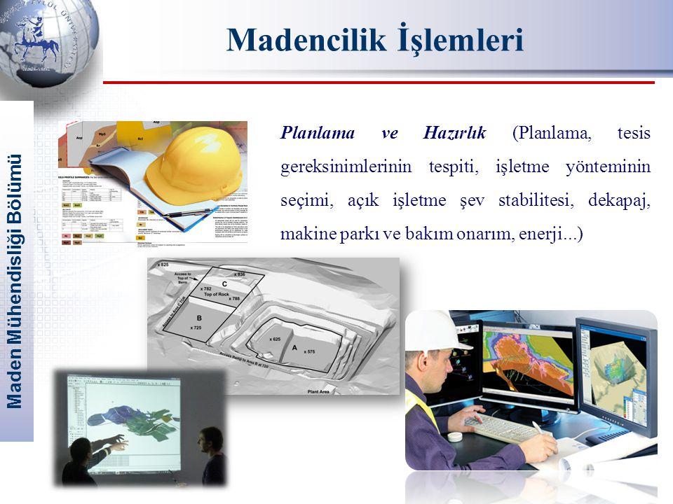 Maden Mühendisliği Bölümü Madencilik İşlemleri Planlama ve Hazırlık (Planlama, tesis gereksinimlerinin tespiti, işletme yönteminin seçimi, açık işletm