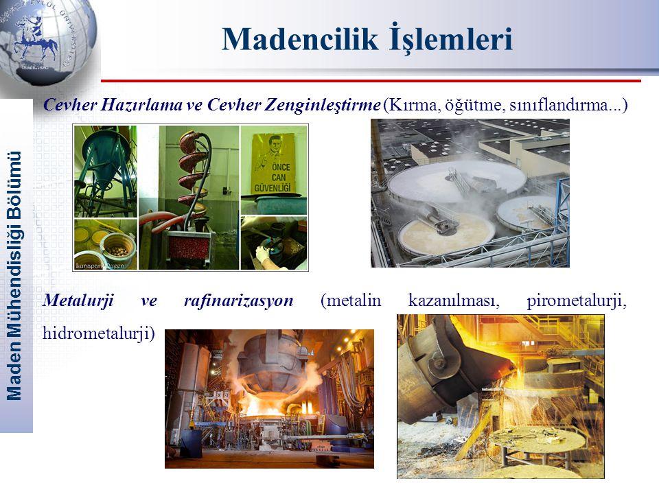 Maden Mühendisliği Bölümü Madencilik İşlemleri Cevher Hazırlama ve Cevher Zenginleştirme (Kırma, öğütme, sınıflandırma...) Metalurji ve rafinarizasyon