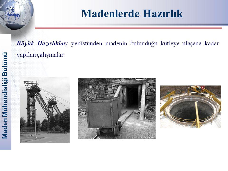Maden Mühendisliği Bölümü Madenlerde Hazırlık Büyük Hazırlıklar; yerüstünden madenin bulunduğu kütleye ulaşana kadar yapılan çalışmalar