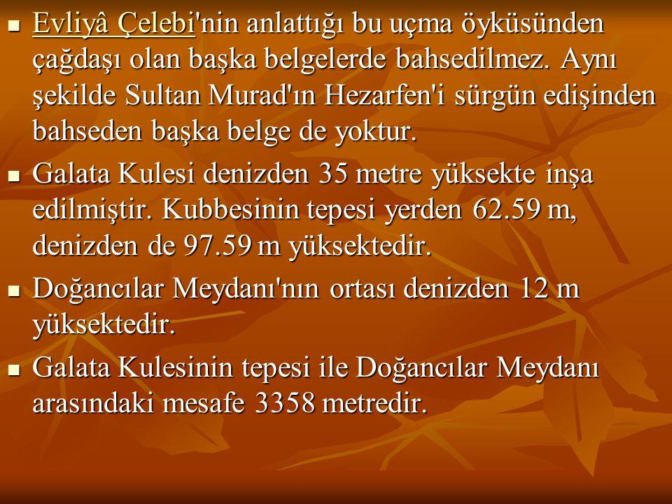 Evliyâ Çelebi'nin anlattığı bu uçma öyküsünden çağdaşı olan başka belgelerde bahsedilmez. Aynı şekilde Sultan Murad'ın Hezarfen'i sürgün edişinden bah