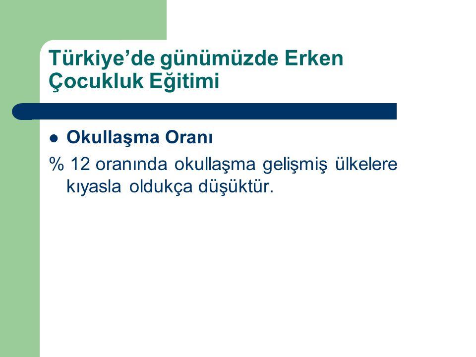 Türkiye'de günümüzde Erken Çocukluk Eğitimi Okullaşma Oranı % 12 oranında okullaşma gelişmiş ülkelere kıyasla oldukça düşüktür.