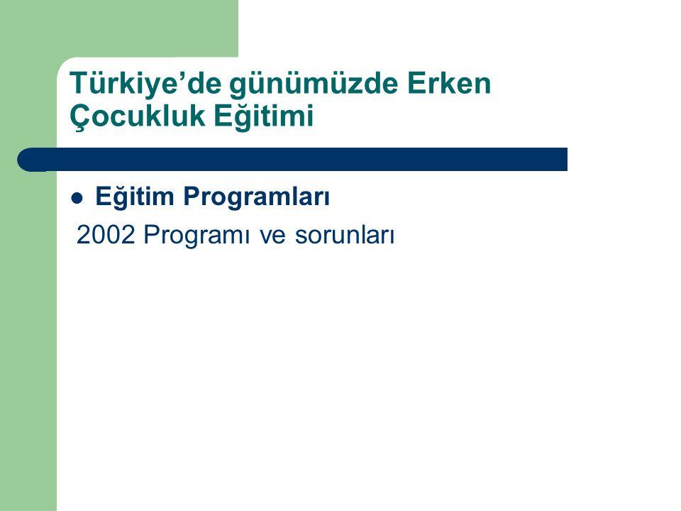 Türkiye'de günümüzde Erken Çocukluk Eğitimi Eğitim Programları 2002 Programı ve sorunları