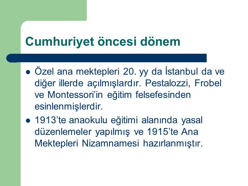 Cumhuriyet öncesi dönem Özel ana mektepleri 20.yy da İstanbul da ve diğer illerde açılmışlardır.