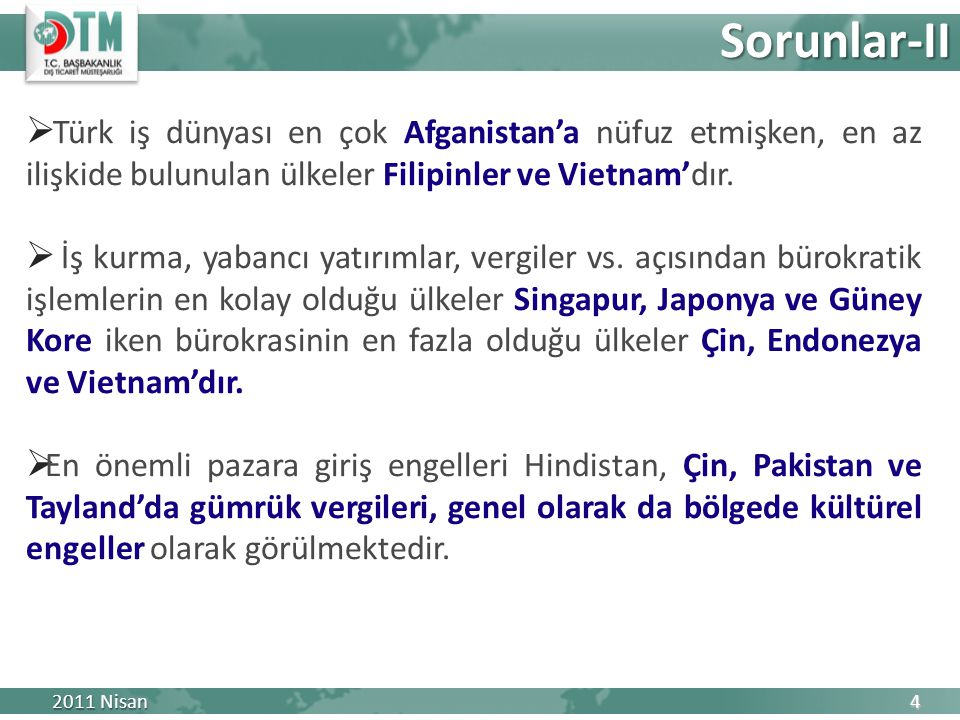  Türk iş dünyası en çok Afganistan'a nüfuz etmişken, en az ilişkide bulunulan ülkeler Filipinler ve Vietnam'dır.