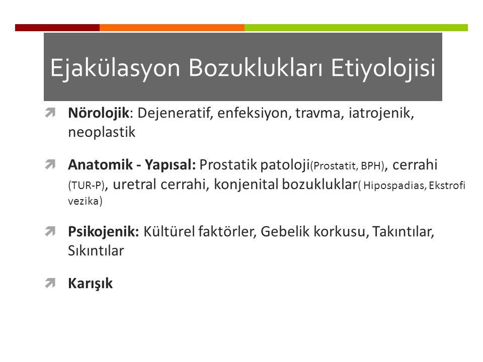 Ejakülasyon Bozuklukları Etiyolojisi  Nörolojik: Dejeneratif, enfeksiyon, travma, iatrojenik, neoplastik  Anatomik - Yapısal: Prostatik patoloji (Pr