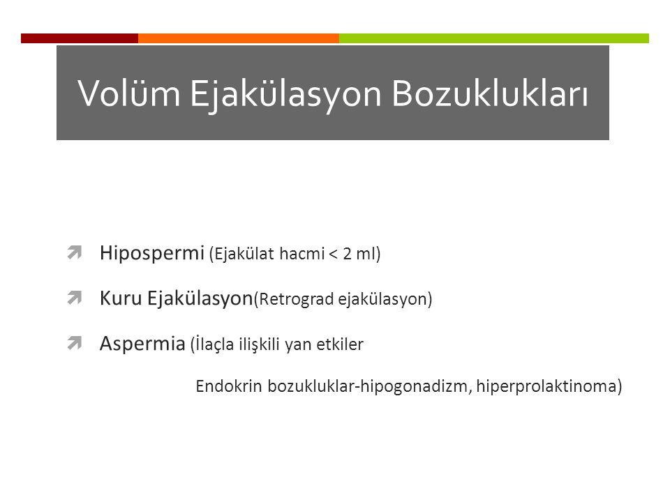 Volüm Ejakülasyon Bozuklukları  Hipospermi (Ejakülat hacmi < 2 ml)  Kuru Ejakülasyon (Retrograd ejakülasyon)  Aspermia (İlaçla ilişkili yan etkiler