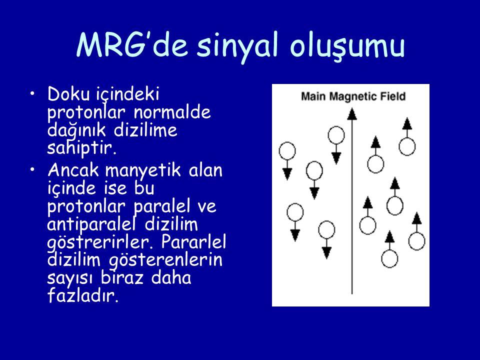 MRG'de sinyal oluşumu Doku içindeki protonlar normalde dağınık dizilime sahiptir. Ancak manyetik alan içinde ise bu protonlar paralel ve antiparalel d