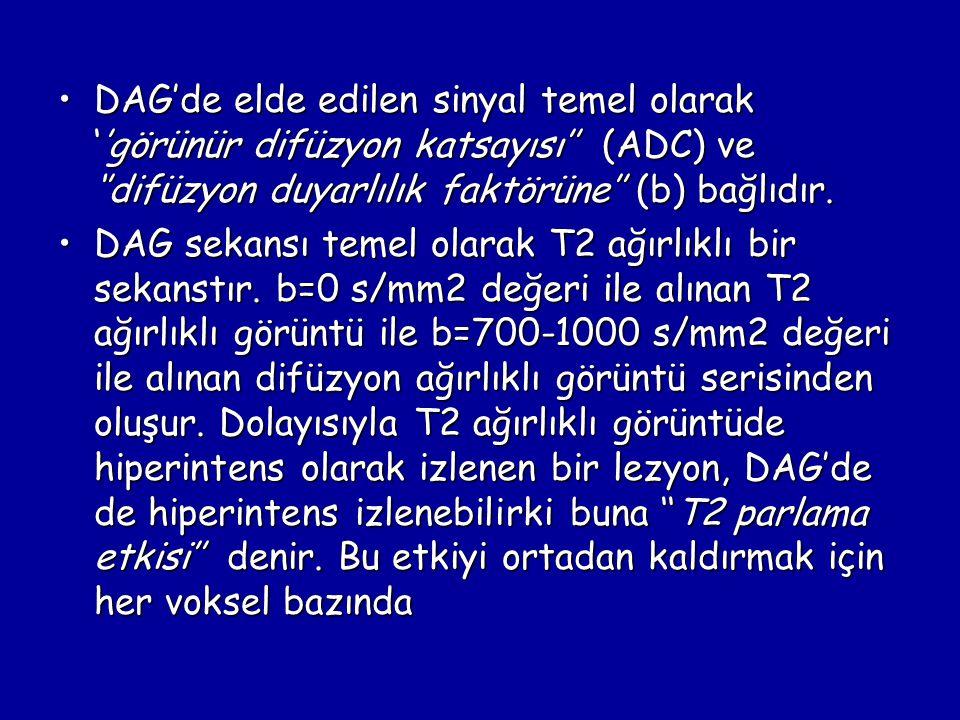 DAG'de elde edilen sinyal temel olarak ''görünür difüzyon katsayısı'' (ADC) ve ''difüzyon duyarlılık faktörüne'' (b) bağlıdır.DAG'de elde edilen sinyal temel olarak ''görünür difüzyon katsayısı'' (ADC) ve ''difüzyon duyarlılık faktörüne'' (b) bağlıdır.