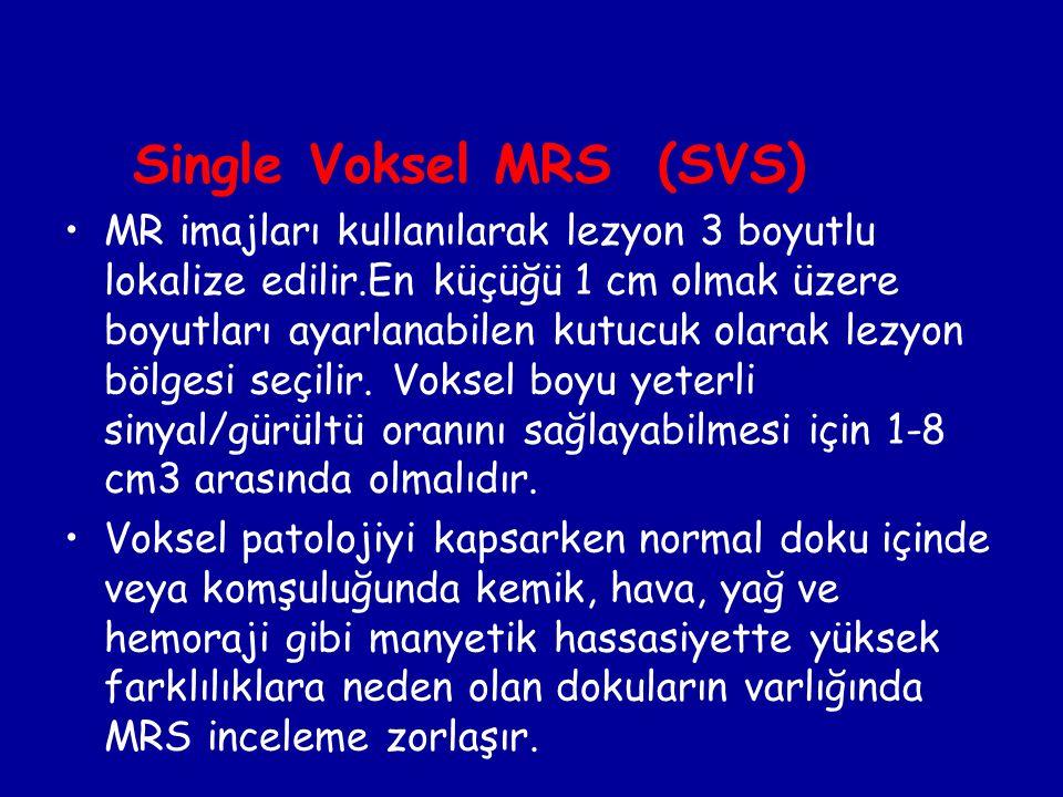 Single Voksel MRS (SVS) MR imajları kullanılarak lezyon 3 boyutlu lokalize edilir.En küçüğü 1 cm olmak üzere boyutları ayarlanabilen kutucuk olarak le