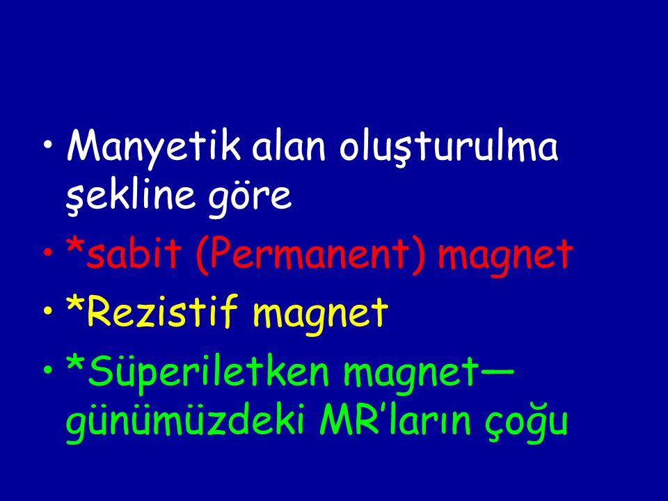 Manyetik alan oluşturulma şekline göre *sabit (Permanent) magnet *Rezistif magnet *Süperiletken magnet— günümüzdeki MR'ların çoğu