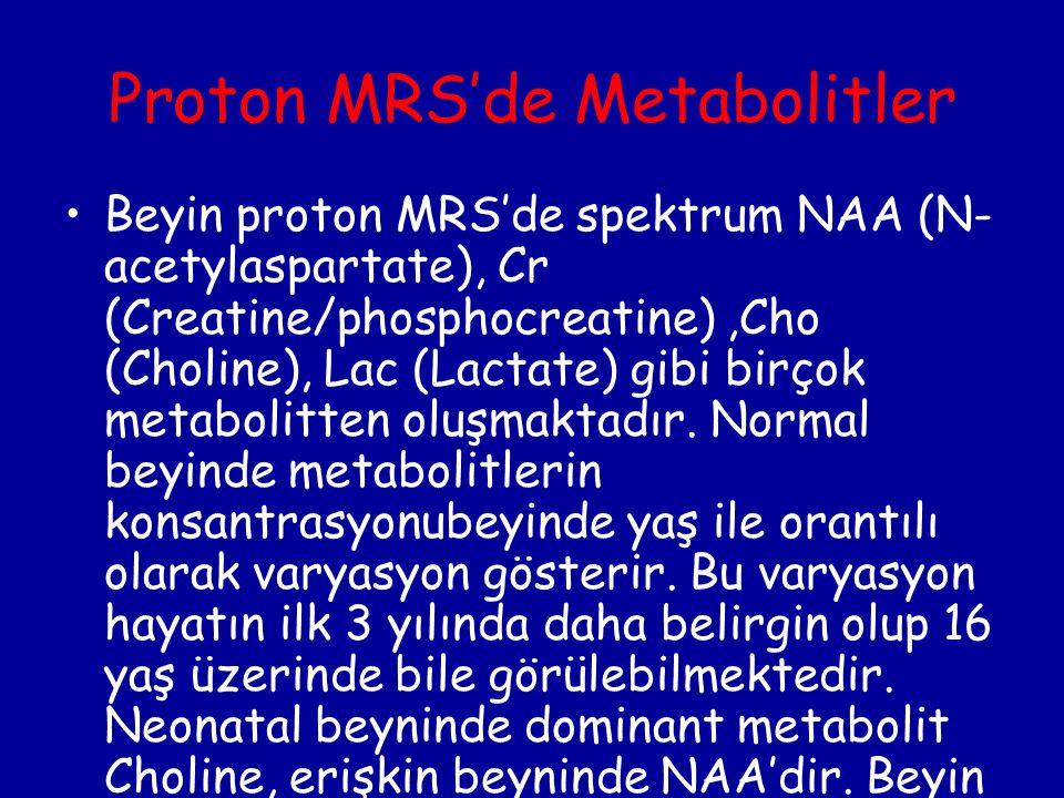Proton MRS'de Metabolitler Beyin proton MRS'de spektrum NAA (N- acetylaspartate), Cr (Creatine/phosphocreatine),Cho (Choline), Lac (Lactate) gibi birç