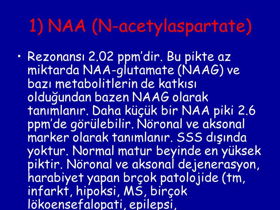 1) NAA (N-acetylaspartate) Rezonansı 2.02 ppm'dir. Bu pikte az miktarda NAA-glutamate (NAAG) ve bazı metabolitlerin de katkısı olduğundan bazen NAAG o
