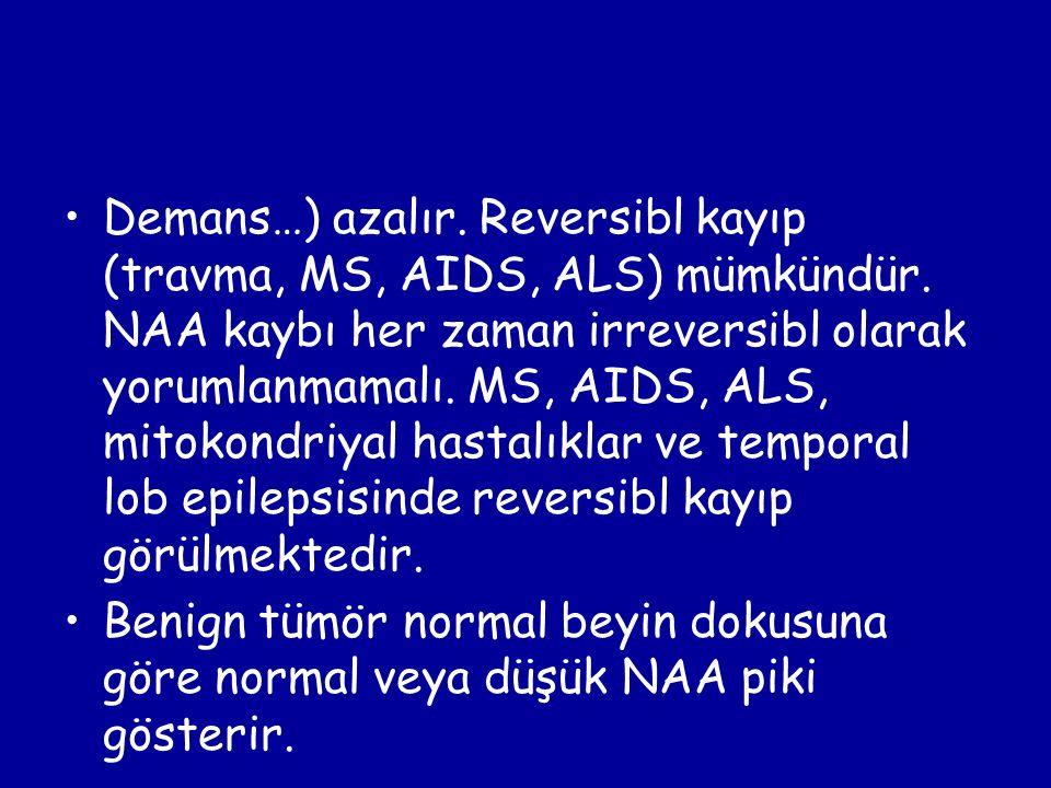 Demans…) azalır. Reversibl kayıp (travma, MS, AIDS, ALS) mümkündür. NAA kaybı her zaman irreversibl olarak yorumlanmamalı. MS, AIDS, ALS, mitokondriya