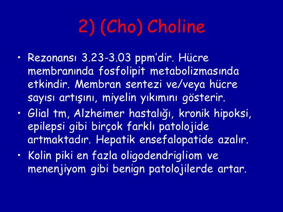 2) (Cho) Choline Rezonansı 3.23-3.03 ppm'dir. Hücre membranında fosfolipit metabolizmasında etkindir. Membran sentezi ve/veya hücre sayısı artışını, m