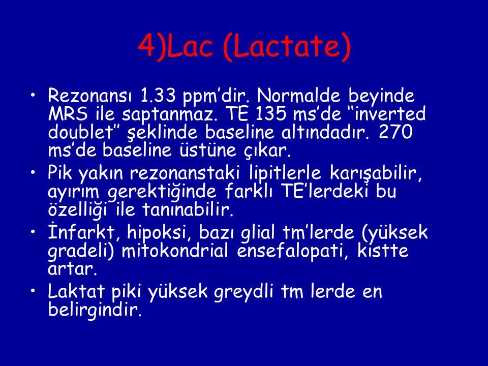 4)Lac (Lactate) Rezonansı 1.33 ppm'dir. Normalde beyinde MRS ile saptanmaz. TE 135 ms'de ''inverted doublet'' şeklinde baseline altındadır. 270 ms'de