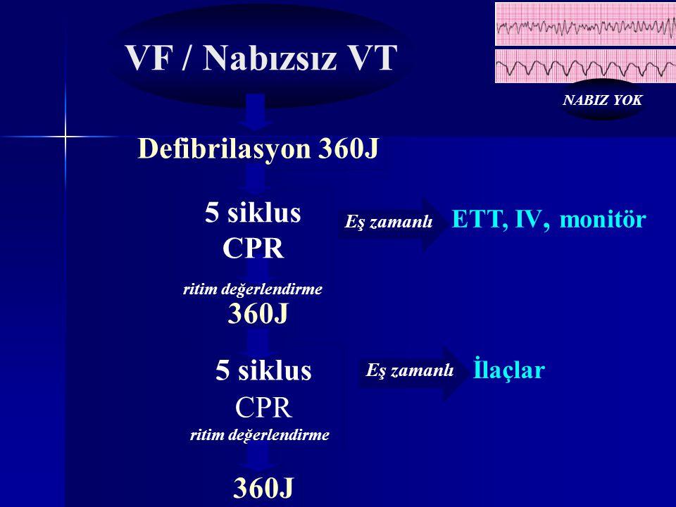 Defibrilasyon 360J 360J Eş zamanlı ETT, IV, monitör İlaçlar VF / Nabızsız VT 5 siklus CPR ritim değerlendirme 5 siklus CPR ritim değerlendirme Eş zama