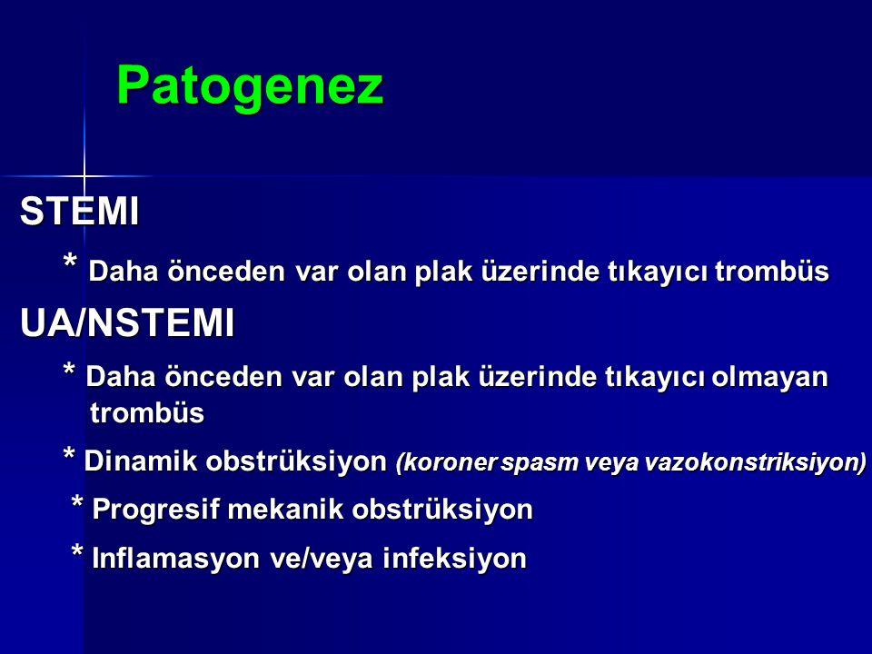 Patogenez STEMI * Daha önceden var olan plak üzerinde tıkayıcı trombüs * Daha önceden var olan plak üzerinde tıkayıcı trombüsUA/NSTEMI * Daha önceden