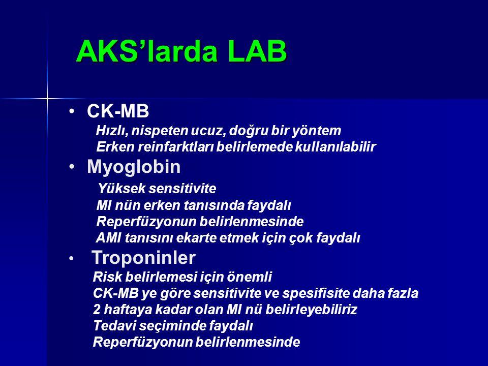 AKS'larda LAB CK-MB Hızlı, nispeten ucuz, doğru bir yöntem Erken reinfarktları belirlemede kullanılabilir Myoglobin Yüksek sensitivite MI nün erken ta