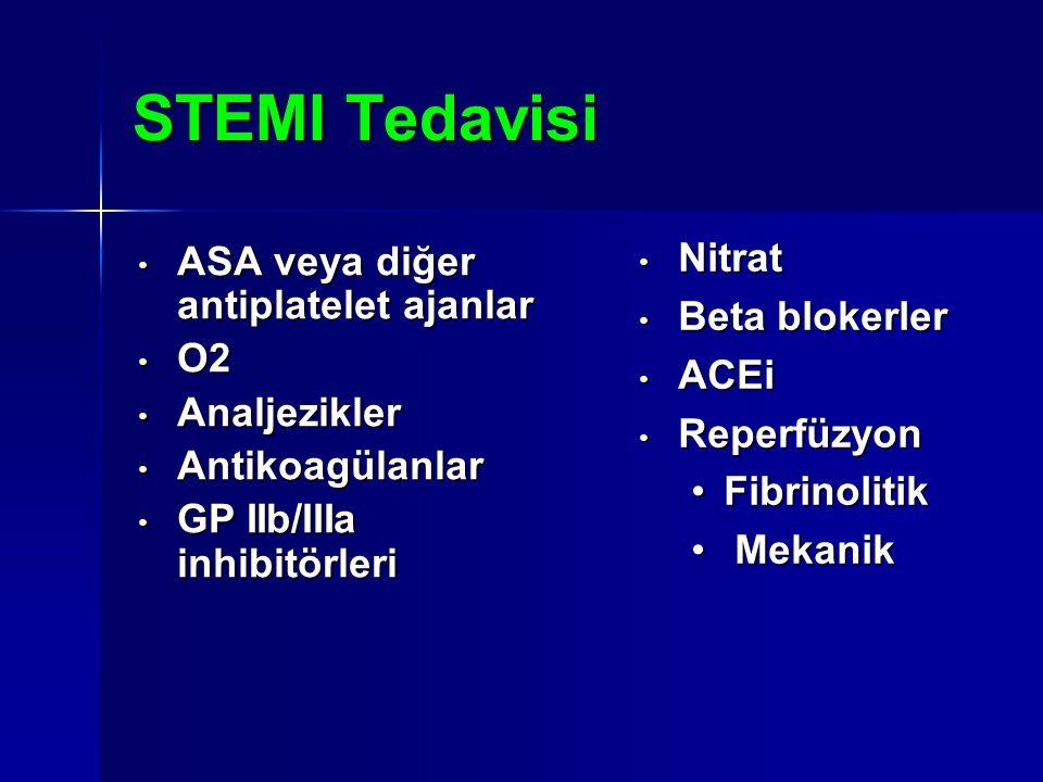 STEMI Tedavisi ASA veya diğer antiplatelet ajanlar ASA veya diğer antiplatelet ajanlar O2 O2 Analjezikler Analjezikler Antikoagülanlar Antikoagülanlar
