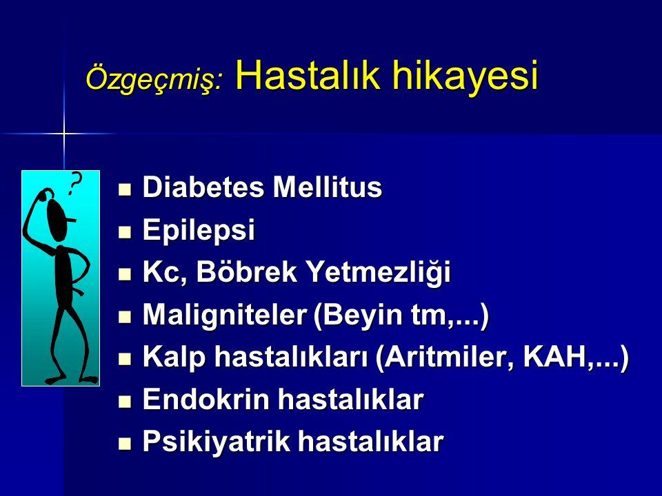 Özgeçmiş: Hastalık hikayesi Diabetes Mellitus Diabetes Mellitus Epilepsi Epilepsi Kc, Böbrek Yetmezliği Kc, Böbrek Yetmezliği Maligniteler (Beyin tm,.