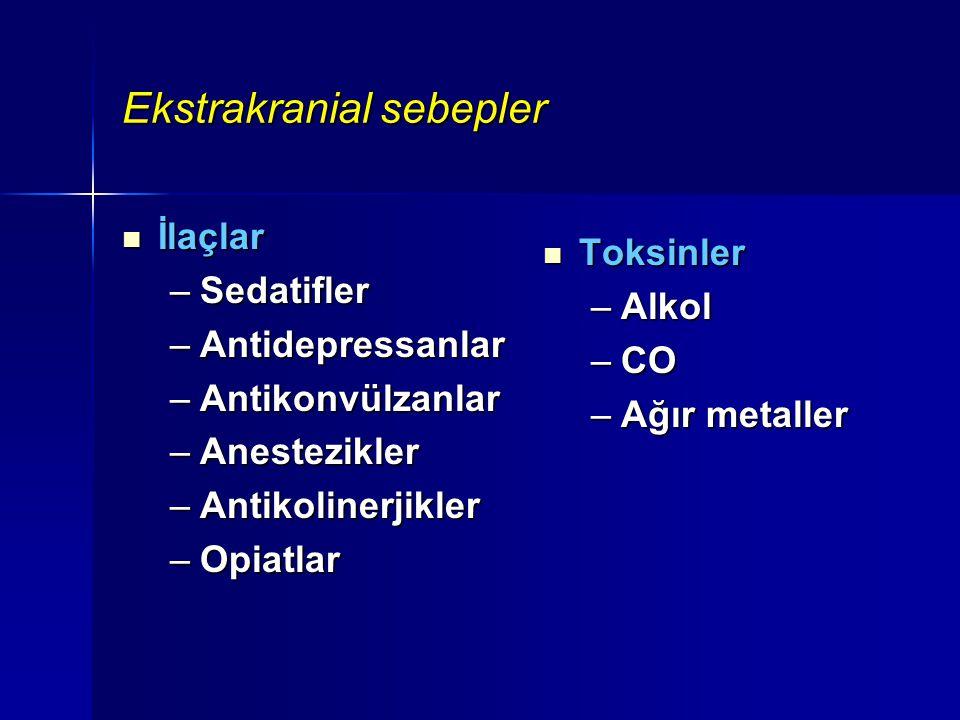 Ekstrakranial sebepler İlaçlar İlaçlar –Sedatifler –Antidepressanlar –Antikonvülzanlar –Anestezikler –Antikolinerjikler –Opiatlar Toksinler Toksinler