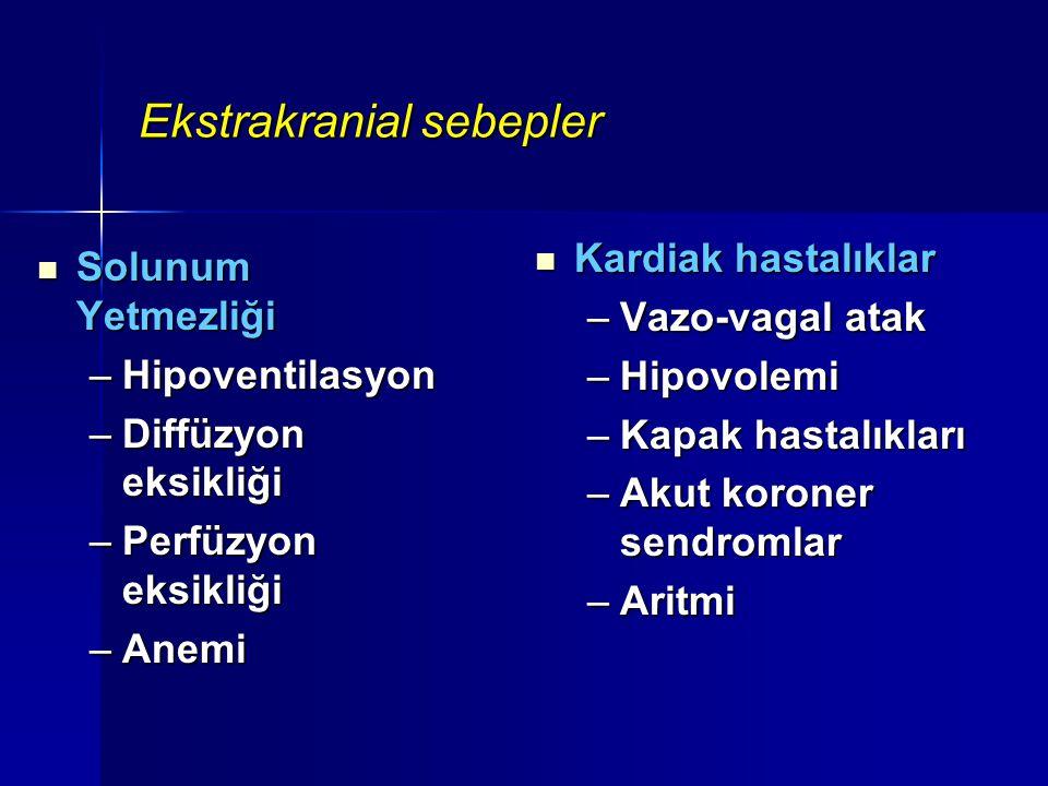 Ekstrakranial sebepler Solunum Yetmezliği Solunum Yetmezliği –Hipoventilasyon –Diffüzyon eksikliği –Perfüzyon eksikliği –Anemi Kardiak hastalıklar Kar