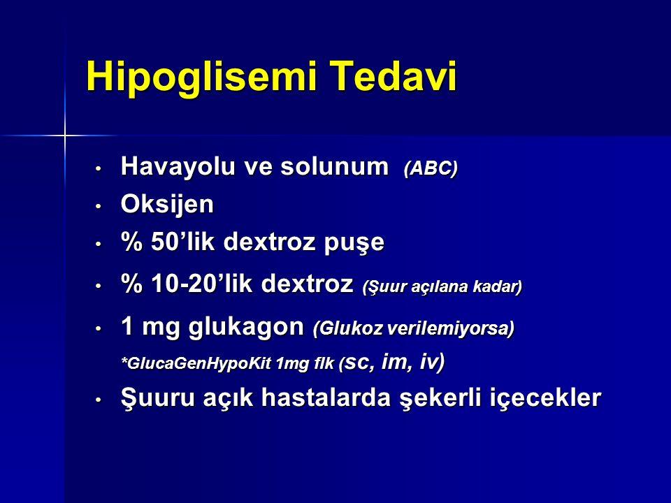 Hipoglisemi Tedavi Havayolu ve solunum (ABC) Havayolu ve solunum (ABC) Oksijen Oksijen % 50'lik dextroz puşe % 50'lik dextroz puşe % 10-20'lik dextroz