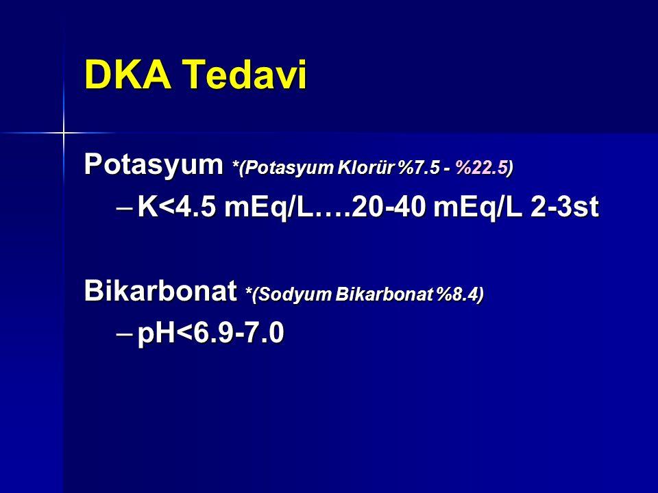 DKA Tedavi Potasyum *(Potasyum Klorür %7.5 - %22.5) –K<4.5 mEq/L….20-40 mEq/L 2-3st Bikarbonat *(Sodyum Bikarbonat %8.4) –pH<6.9-7.0