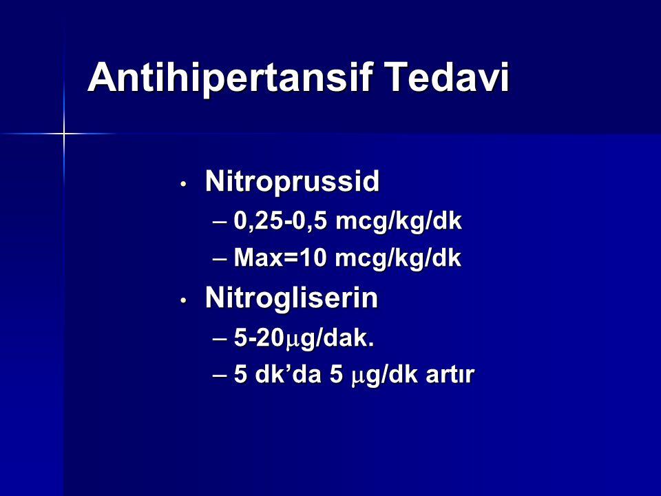 Antihipertansif Tedavi Nitroprussid Nitroprussid –0,25-0,5 mcg/kg/dk –Max=10 mcg/kg/dk Nitrogliserin Nitrogliserin –5-20  g/dak. –5 dk'da 5  g/dk ar