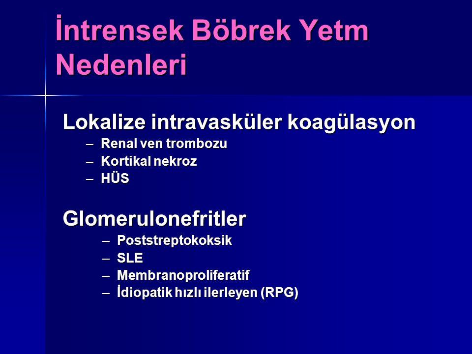 İntrensek Böbrek Yetm Nedenleri Glomerulonefritler –Poststreptokoksik –SLE –Membranoproliferatif –İdiopatik hızlı ilerleyen (RPG) Lokalize intravaskül