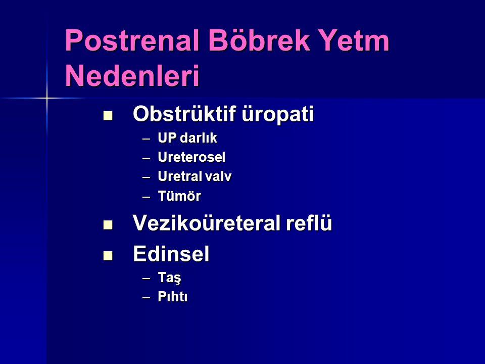Postrenal Böbrek Yetm Nedenleri Obstrüktif üropati Obstrüktif üropati –UP darlık –Ureterosel –Uretral valv –Tümör Vezikoüreteral reflü Vezikoüreteral