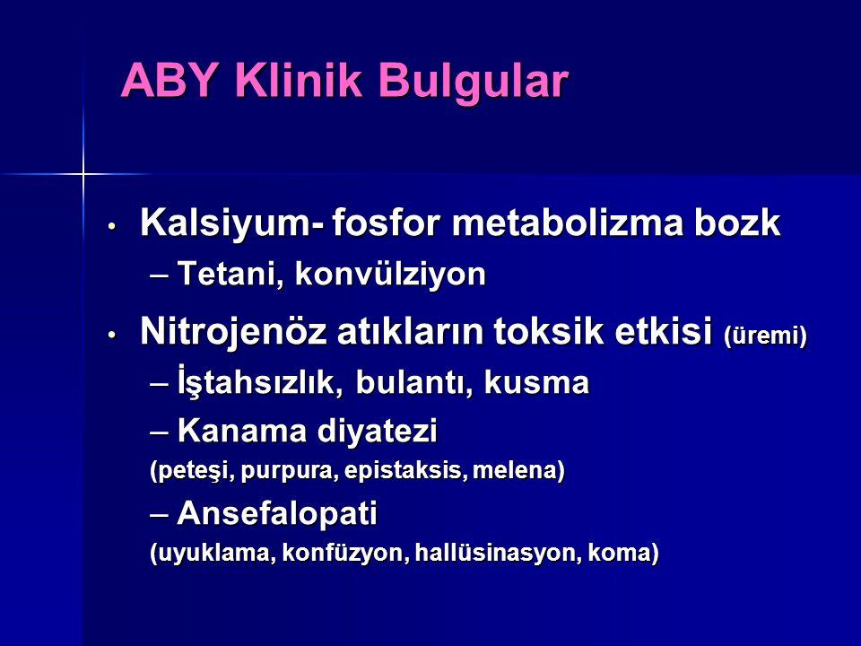 Kalsiyum- fosfor metabolizma bozk Kalsiyum- fosfor metabolizma bozk –Tetani, konvülziyon Nitrojenöz atıkların toksik etkisi (üremi) Nitrojenöz atıklar