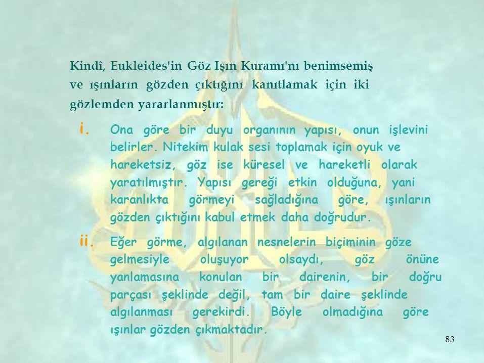i. ii. 83 Kindî, Eukleides'in Göz Işın Kuramı'nı benimsemiş ve ışınların gözden çıktığını kanıtlamak için iki gözlemden yararlanmıştır: Ona göre bir d