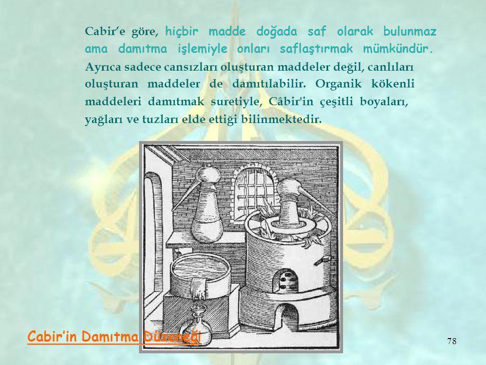 78 Cabir'e göre, hiçbir madde doğada saf olarak bulunmaz ama damıtma işlemiyle onları saflaştırmak mümkündür. Ayrıca sadece cansızları oluşturan madde