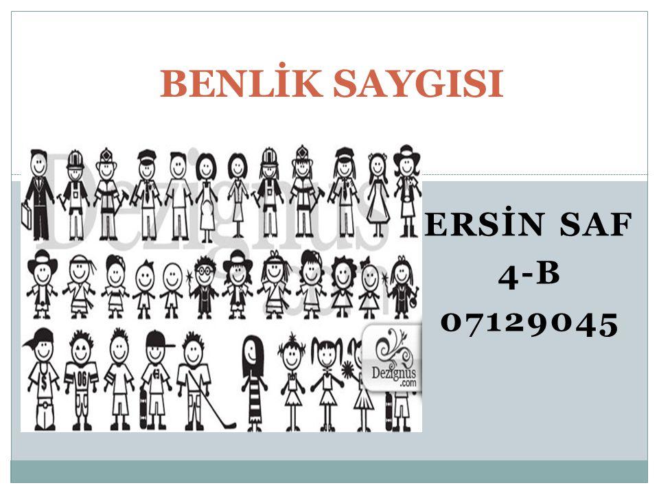 ERSİN SAF 4-B 07129045 BENLİK SAYGISI