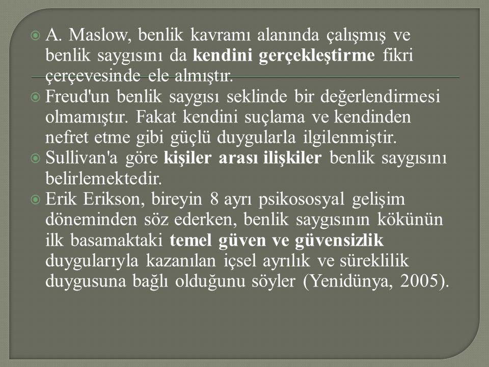  A. Maslow, benlik kavramı alanında çalışmış ve benlik saygısını da kendini gerçekleştirme fikri çerçevesinde ele almıştır.  Freud'un benlik saygısı