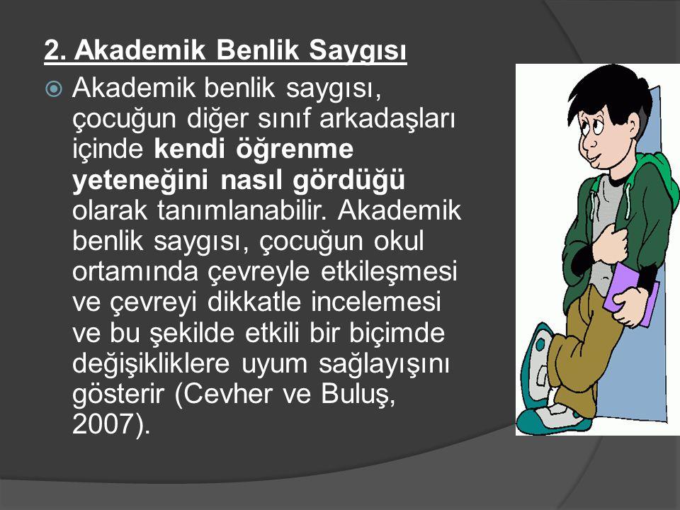 2. Akademik Benlik Saygısı  Akademik benlik saygısı, çocuğun diğer sınıf arkadaşları içinde kendi öğrenme yeteneğini nasıl gördüğü olarak tanımlanabi