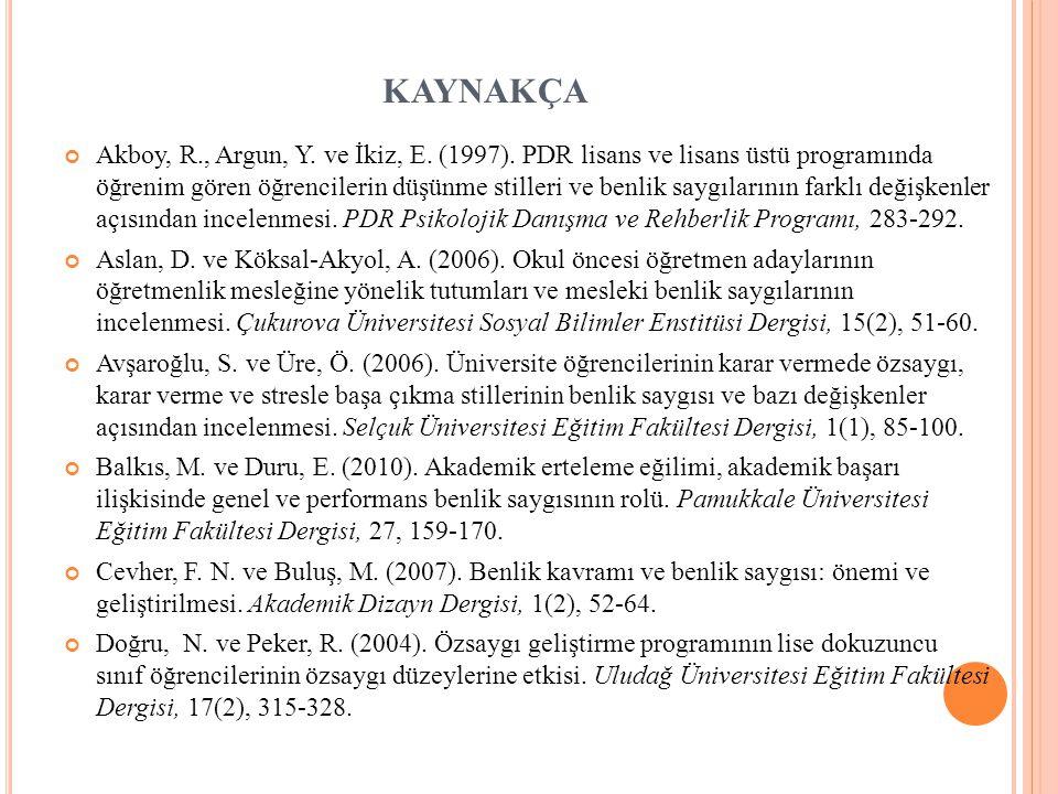 KAYNAKÇA Akboy, R., Argun, Y.ve İkiz, E. (1997).