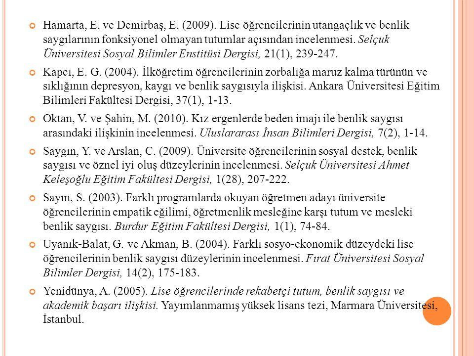 Hamarta, E.ve Demirbaş, E. (2009).