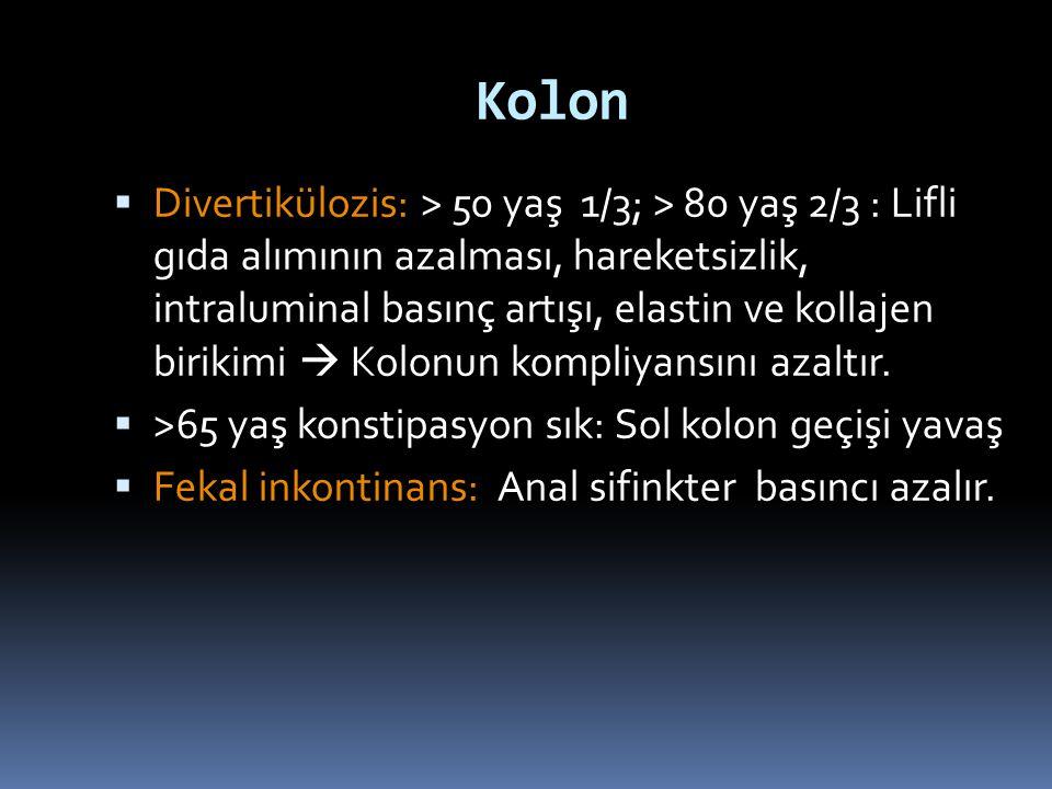 Kolon  Divertikülozis: > 50 yaş 1/3; > 80 yaş 2/3 : Lifli gıda alımının azalması, hareketsizlik, intraluminal basınç artışı, elastin ve kollajen biri