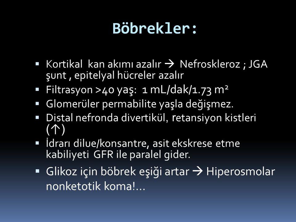 Böbrekler:  Kortikal kan akımı azalır  Nefroskleroz ; JGA şunt, epitelyal hücreler azalır  Filtrasyon >40 yaş: 1 mL/dak/1.73 m 2  Glomerüler perma