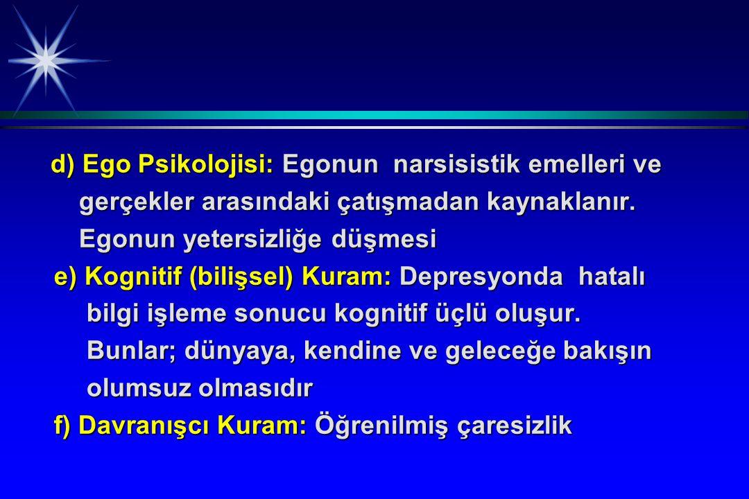 d) Ego Psikolojisi: Egonun narsisistik emelleri ve d) Ego Psikolojisi: Egonun narsisistik emelleri ve gerçekler arasındaki çatışmadan kaynaklanır. ger