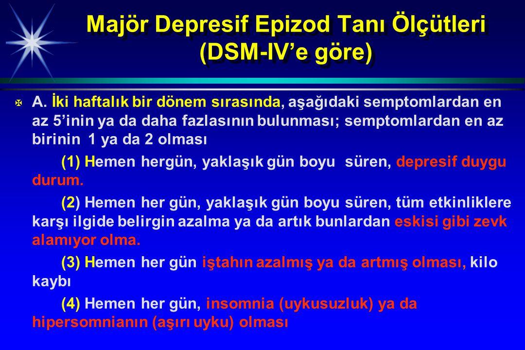 Majör Depresif Epizod Tanı Ölçütleri (DSM-IV'e göre) X X A. İki haftalık bir dönem sırasında, aşağıdaki semptomlardan en az 5'inin ya da daha fazlasın