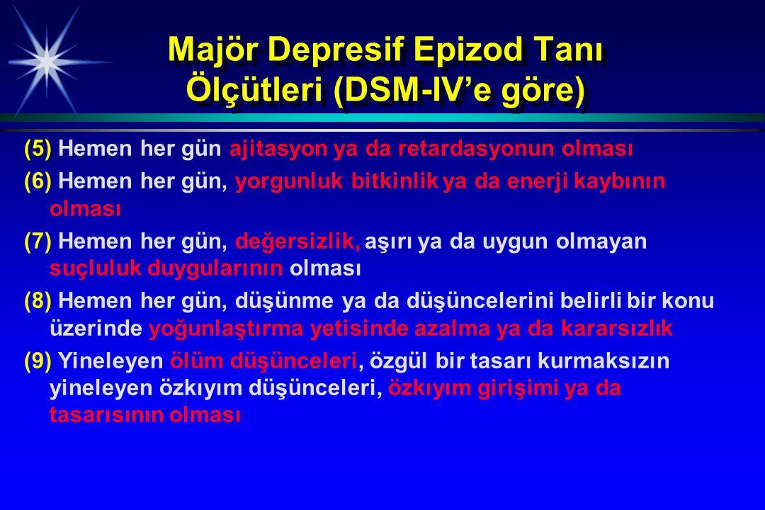 Majör Depresif Epizod Tanı Ölçütleri (DSM-IV'e göre) (5) (5) Hemen her gün ajitasyon ya da retardasyonun olması (6) Hemen her gün, yorgunluk bitkinlik