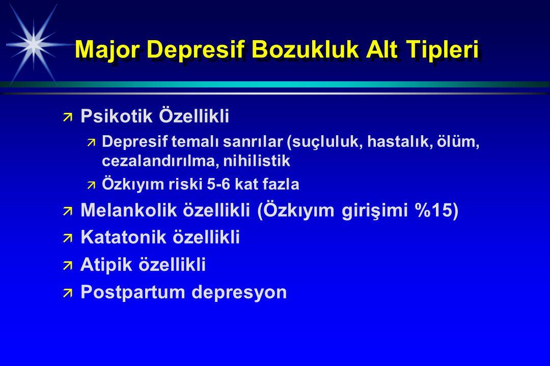 Major Depresif Bozukluk Alt Tipleri ä ä Psikotik Özellikli ä ä Depresif temalı sanrılar (suçluluk, hastalık, ölüm, cezalandırılma, nihilistik ä ä Özkı