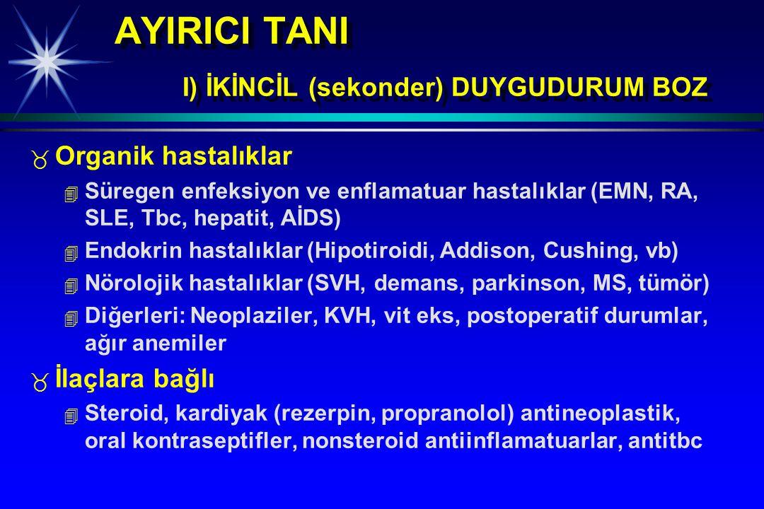 AYIRICI TANI I) İKİNCİL (sekonder) DUYGUDURUM BOZ _ _ Organik hastalıklar 4 4 Süregen enfeksiyon ve enflamatuar hastalıklar (EMN, RA, SLE, Tbc, hepati
