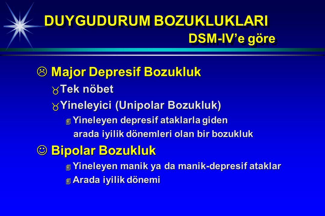 DUYGUDURUM BOZUKLUKLARI DSM-IV'e göre  Major Depresif Bozukluk _ Tek nöbet _ Yineleyici (Unipolar Bozukluk) 4 Yineleyen depresif ataklarla giden arad