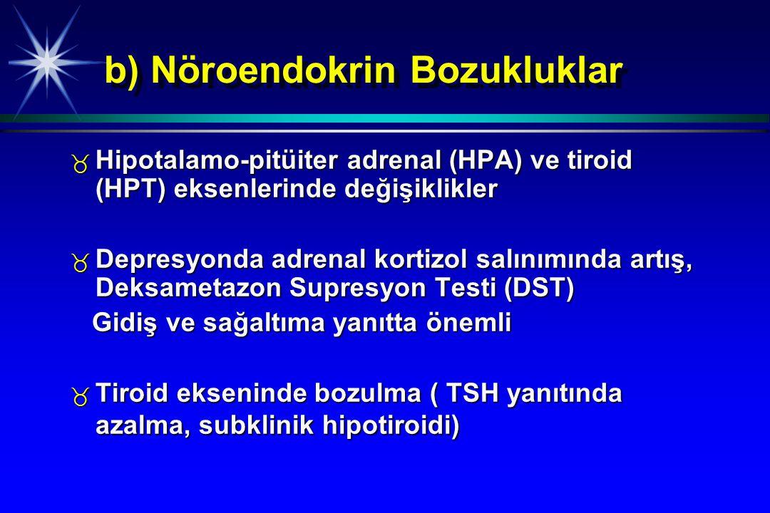 b) Nöroendokrin Bozukluklar _ Hipotalamo-pitüiter adrenal (HPA) ve tiroid (HPT) eksenlerinde değişiklikler _ Depresyonda adrenal kortizol salınımında
